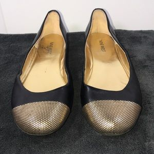 Nine West ballet flats with gold toe trim